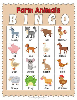 photo about Animal Bingo Printable titled Printable Farm Pets Bingo Activity