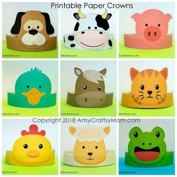 Farm Animals Printable Paper Crowns  - Color + Black & white version