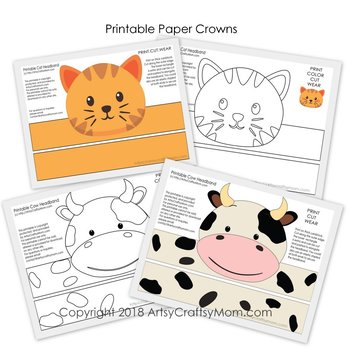 image relating to Free Printable Farm Animals called Farm Pets Printable Paper Crowns - Coloration + Black white variation