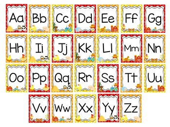 Printable Farm themed Alphabet and Numbers 1-10 Posters.