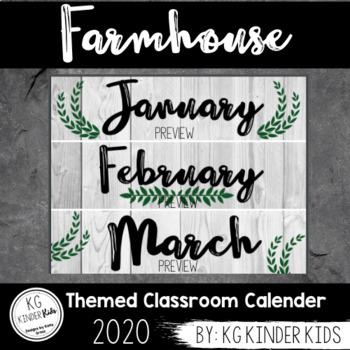 Printable Farmhouse Classroom Calendar