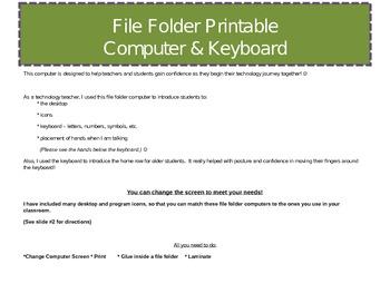 Printable!  File Folder Computer