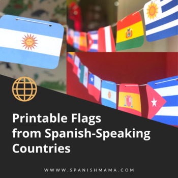 picture regarding Printable Flags called Printable Flag Banner versus Spanish-Talking International locations inside Spanish and English