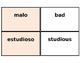 Printable Flashcards: Spanish Adjectives (Avancemos 1 U1L2)