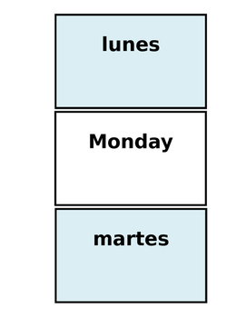 Printable Flashcards: Spanish Day of the Week