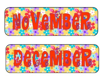 Printable Flower Fun Calendar Pieces--Months of the Year