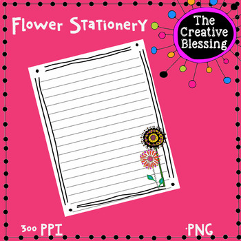 Cute Printable Flower Stationery Wide Ruled Note Paper