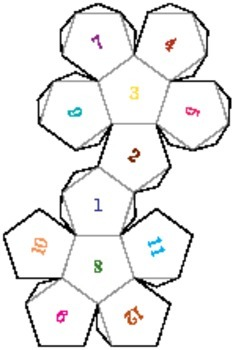 printable foldable 12 sided dice by edwin donnelly tpt
