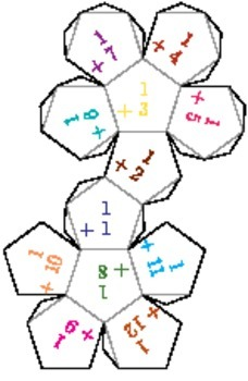Printable Foldable 12-Sided Dice for Addition