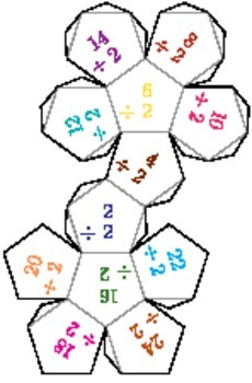 Printable Foldable 12-Sided Dice for Division
