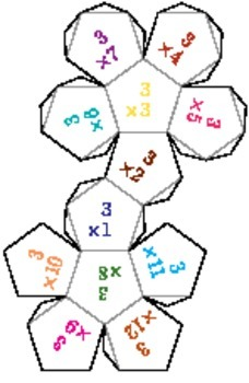 Printable Foldable 12-Sided Dice for Multiplication