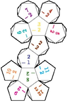 Printable Foldable 12-Sided Dice for Subtraction
