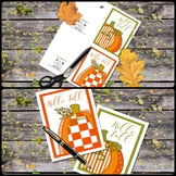 Printable Folded Note Cards: Pumpkin Patch Folded Note Card Set 5