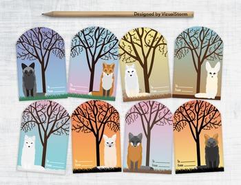 Printable Fox Gift Tags - 8 Handmade Animal Hang Tags Digital Collage Sheet