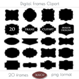 Printable Frames Clipart Borders Clip Art Labels Tags Dotted Stitched Digital