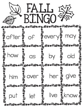 Printable Free Fall Bingo - 1st Grade Common Core Sight Words