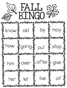image regarding Fall Bingo Printable known as Printable Totally free Slide Bingo - 1st Quality Well-known Main Sight Words and phrases