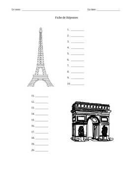 Printable French Answer Sheet (MS Word)