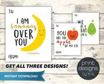 Printable Fruit Valentines Day Card - Printable Valentine - School Valentines
