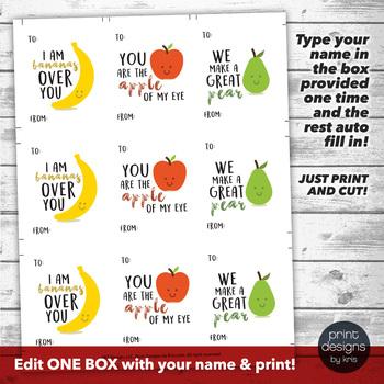 Editable Cute Fruit Valentines Day Card - Printable Valentine