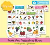 Printable Fruits and Vegetables Bingo - Lotería Frutas y Verduras en INGLES