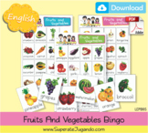 Printable Fruits and Vegetables Bingo - Lotería Frutas y V