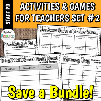 Printable Games for Teachers #2 No-Prep Activities Great for PD & Staff Meetings