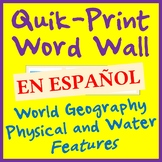 Geography Land and Water Features Printable Word Wall - 26