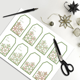 Printable Gift Tags: Pink & Green Winter Snowflake To From Tags