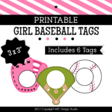 Printable Tags, Girl Baseball, Labels, Sports Tags - Classroom Decoration