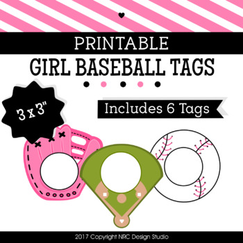Printable Tags, Girl Baseball, Labels, Sports Tags - Classroom Decoration