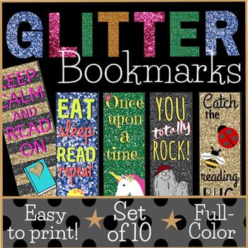 Printable Glitter Bookmarks (set of 10 designs)
