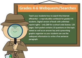 Printable Gr. 4-6 webquest ebook; Reproducible Workbook - single teacher license