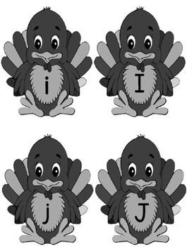 Printable Grammar  Activities - Turkey Alphabet Upper & Lower Case Letters Gray