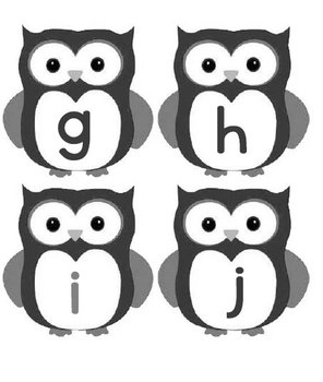 Printable Grammar Assorted Activities - Owl Letters Upper & Lower Case GrayScale