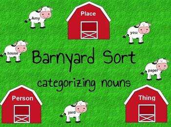 Printable Grammar File Folder Game Barnyard Sort - Sorting Nouns