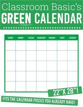 """Printable Green Calendar (22""""X28""""!)"""