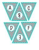 Banner Letters, Small PennantsTurquoise {Gray Chevron}