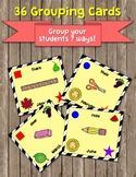 Printable Grouping Cards for Student Groups