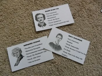 """Printable """"Guess Who?"""" Famous Writers Game Insert"""