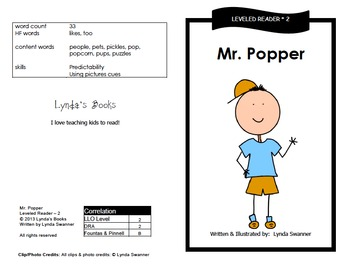 Printable Guided Reading Books- Level 2 DRA