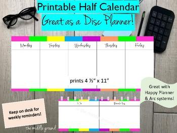 Printable Half Sheet Weekly Calendar Great With Happy Planner Or