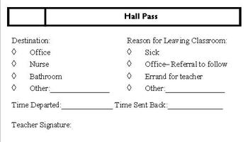 image about Hall Passes Printable titled Printable Corridor P
