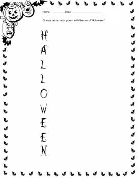 Printable Halloween Acrostic Poems