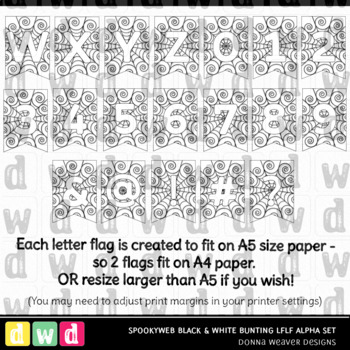 Printable Halloween Alphabet SPOOKY WEB BLACK and WHITE BUNTING Letters Numbers