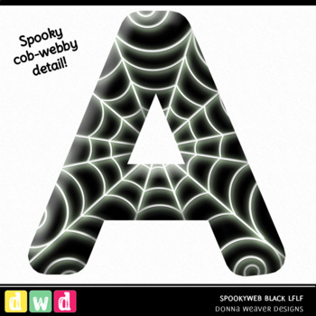 Printable Halloween Alphabet SPOOKY WEB LFLF BLACK Letters Numbers