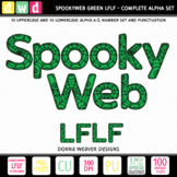 Printable Halloween Alphabet SPOOKY WEB LFLF GREEN Letters Numbers