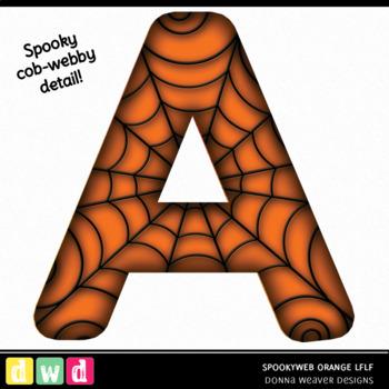 Printable Halloween Alphabet SPOOKY WEB LFLF ORANGE Letters Numbers