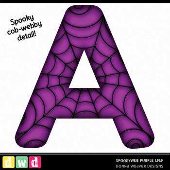 Printable Halloween Alphabet SPOOKY WEB LFLF PURPLE Letters Numbers