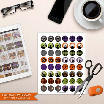 Printable Halloween Bottle Cap Images for Classroom Projects & Bulletin Boards